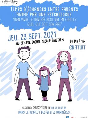 """Temps d'échange entre parents - """"Bien vivre la rentrée scolaire en famille quel que soit son âge"""""""