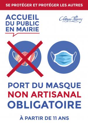 Port du masque non-artisanal obligatoire au sein des sites administratifs municipaux
