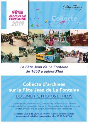 Affiche collecte archives Fête Jean de La Fontaine