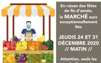 Marché de centre-ville les jeudis 24 et 31 décembre